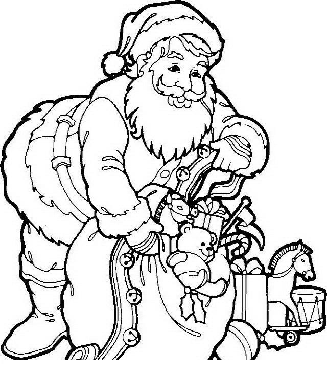 COLOREA TUS DIBUJOS: Papá Noel con juguetes para colorear y pintar