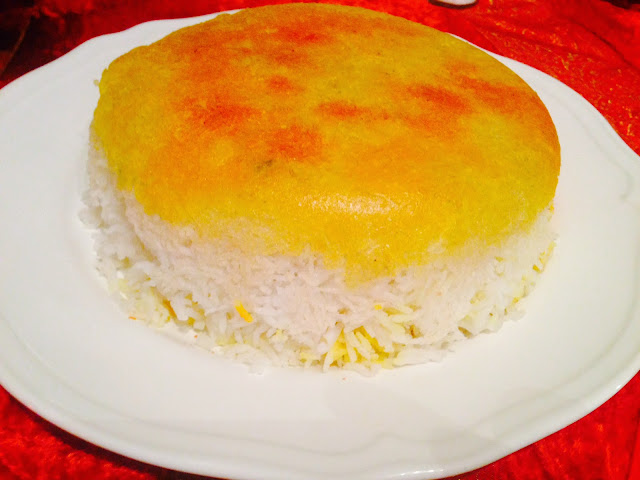 Persian rice with saffron and tahdig