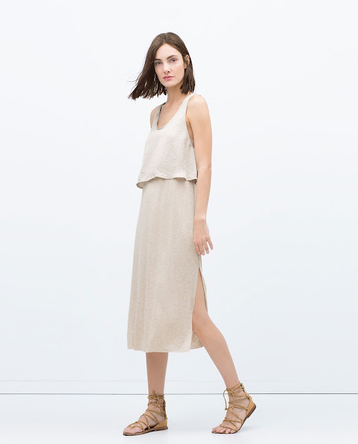 zara beige dress, beige layered dress,