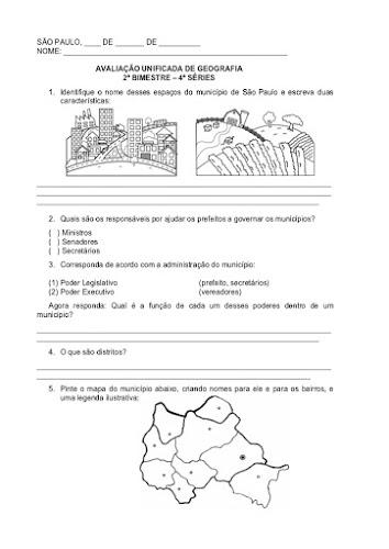 Avaliação Unificada de Geografia 2º Bimestre 4º Séries