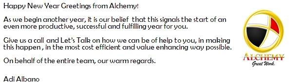 happy new year greetings from alchemy as we begin another year it is our belief that this signals the start of an even more productive successful and
