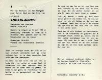 Bidprentje Achilles Quintyn 1884-1984