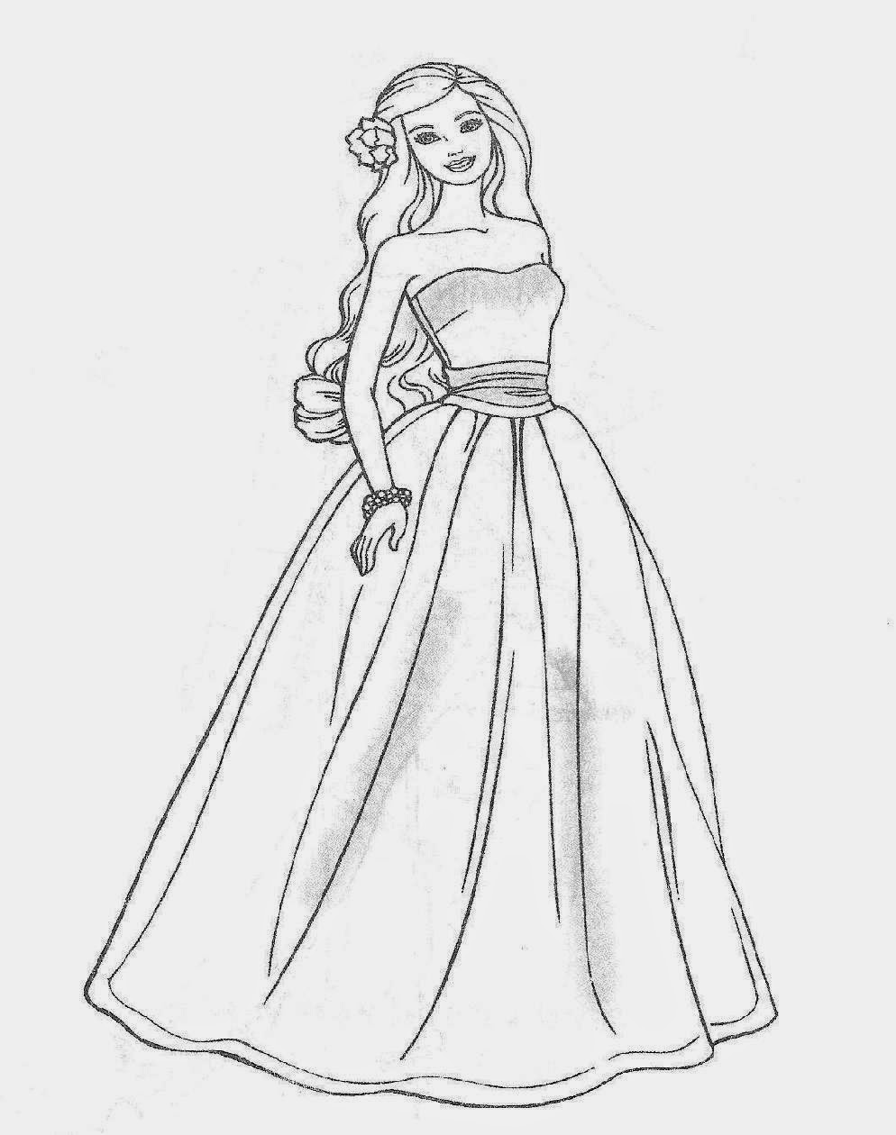 Barbie Coloring Pages Black And White : Barbie coloring pages free sheet