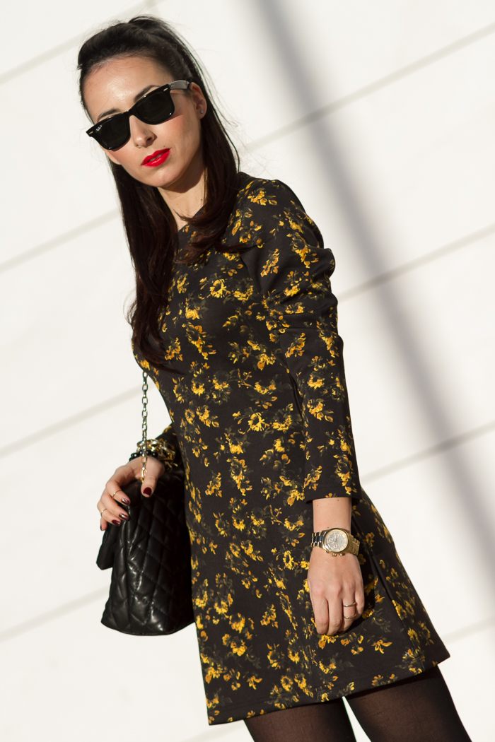 Mustard and Black Floral Dress with Ray Ban Wayfarer and Red Lips