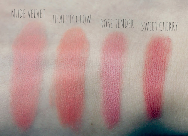 Bourjois Cream Blush Swatches, Nude Velvet, Healthy Glow, Rose Tender, Sweet Cherry