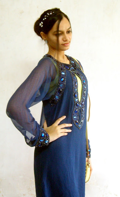 indianwear, beaded dress, blue beaded dress, indowestern outfits, what to wear to a new year party, headbands, diamond headbands, hairbands, keyhole dress, neon dress, new year outfit ideas, mumbai party outfits