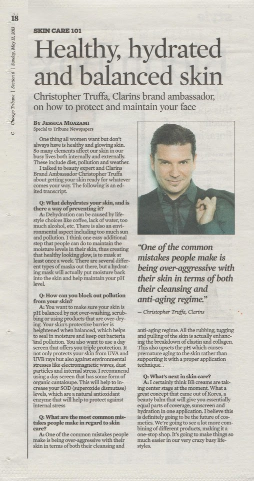Jessica Moazami interviews Christopher Truffa, Clarins Brand Ambassador, for the Chicago Tribune