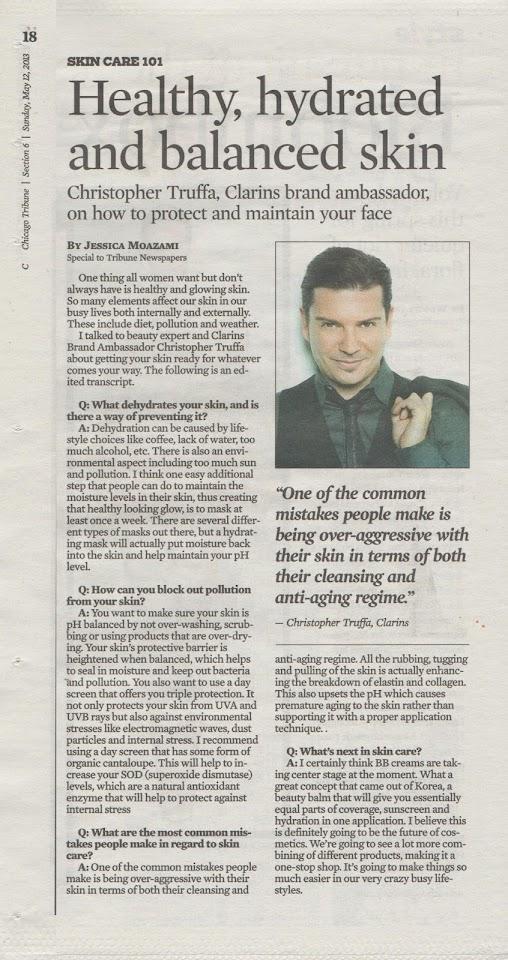 Jessica Moazami interviews Christopher Truffa, Clarins Brand Ambassador, for the Chicago Tribune