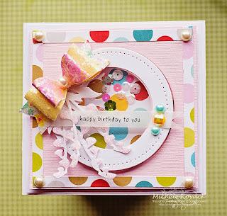 SRM Sticker Blog - Birthday Shaker by Michele - #card #shaker #birthday #stickers