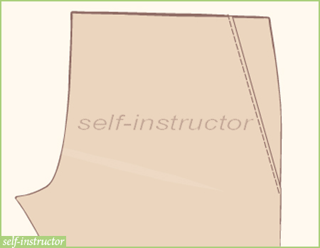 страничен джоб на панталон - лицев шев на 1 мм