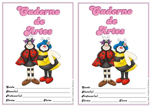 Capas para Cadernos de Artes Tema Joaninhas