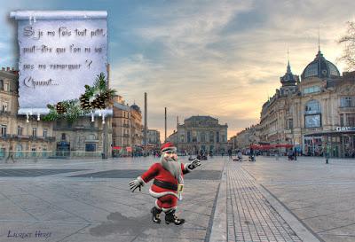 Père Noël traversant la place de la comédie à Montpellier