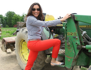 Ana ready to get on the tractor wearing her fancy silver shoes.