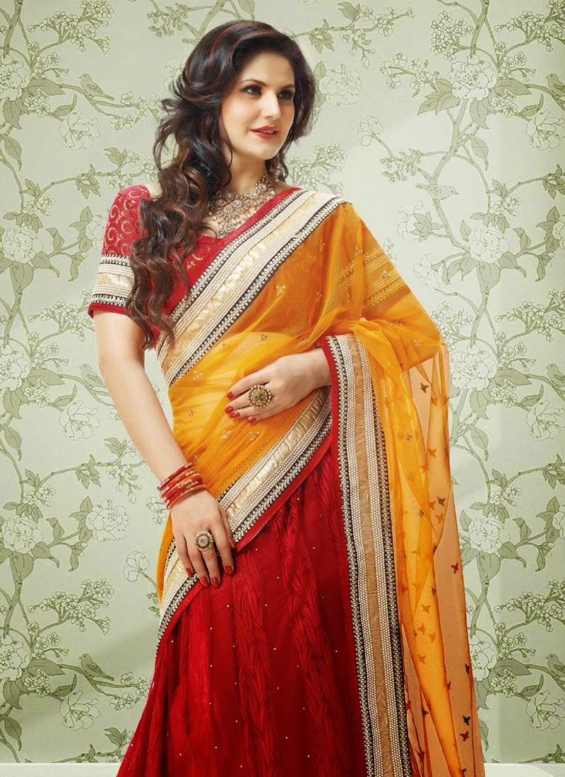 zarin khan hot in yellow saree hd wallpaper