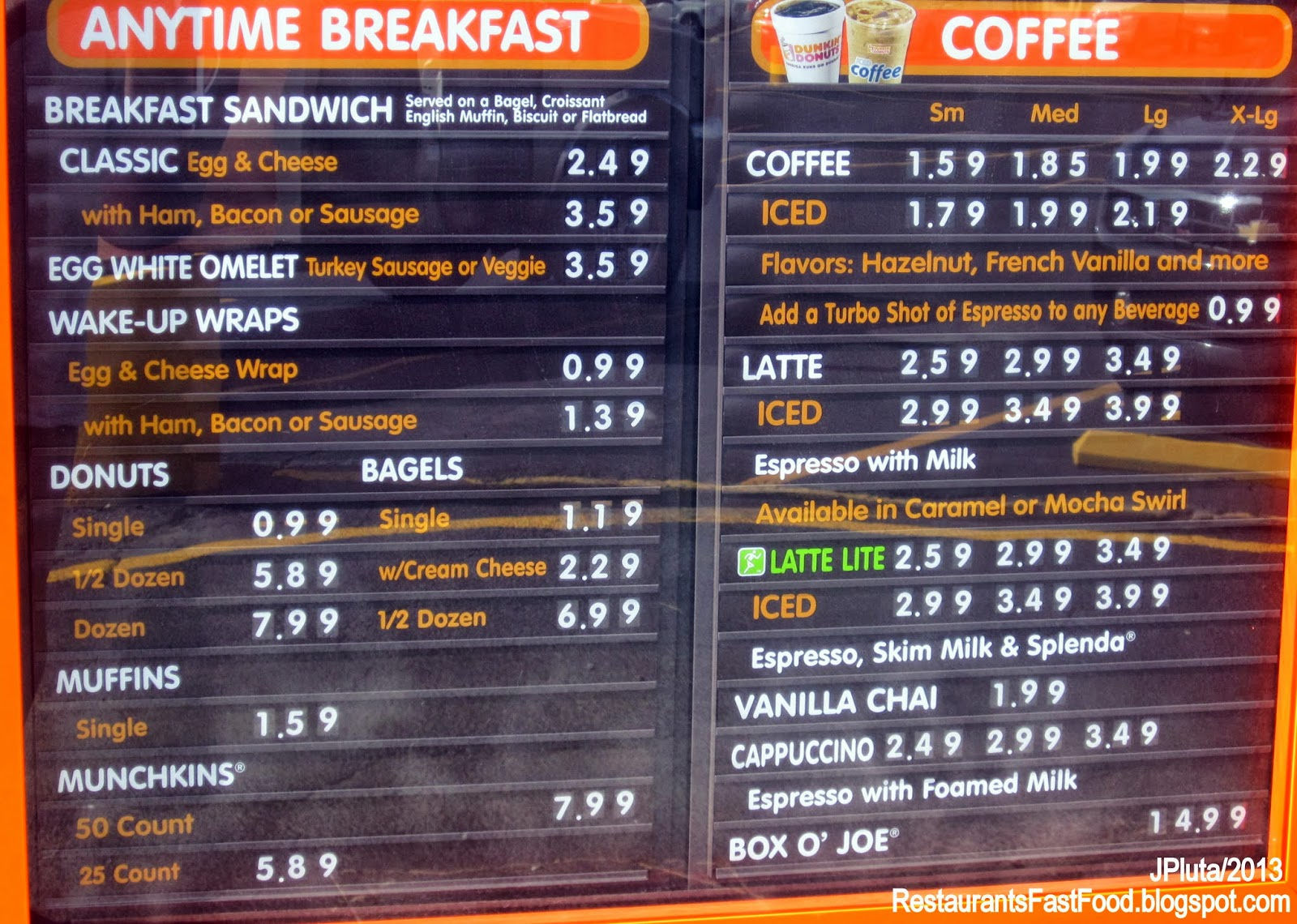 Dunkin Donuts Fast Food Menu Prices