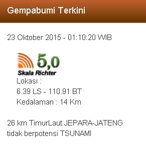 Gempa 5.0 Skala Richter Terjadi di Timur Laut Jepara
