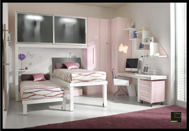 Habitaci n doble para ni as en rosa ideas para decorar for Dormitorios para ninas adolescentes