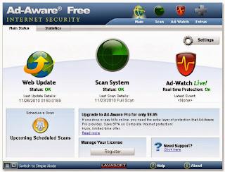 صورة من داخل البرنامج Ad-Aware Free
