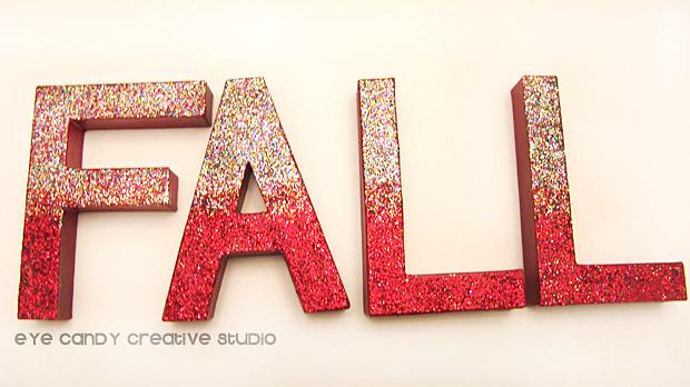 modge podge, glitter, fall letters, fall word art, glittered letters, fall