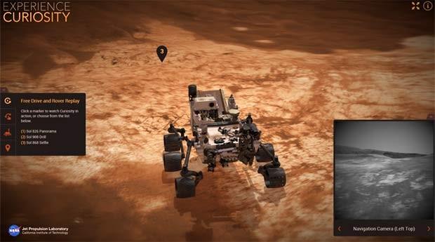 Nasa lança site que permite navegar robô Curiosity em mapa 3D