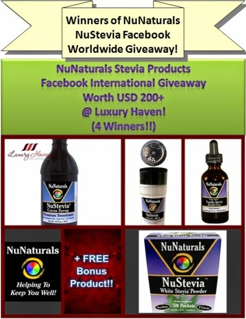 luxury haven nunaturals nustevia facebook giveaway winners