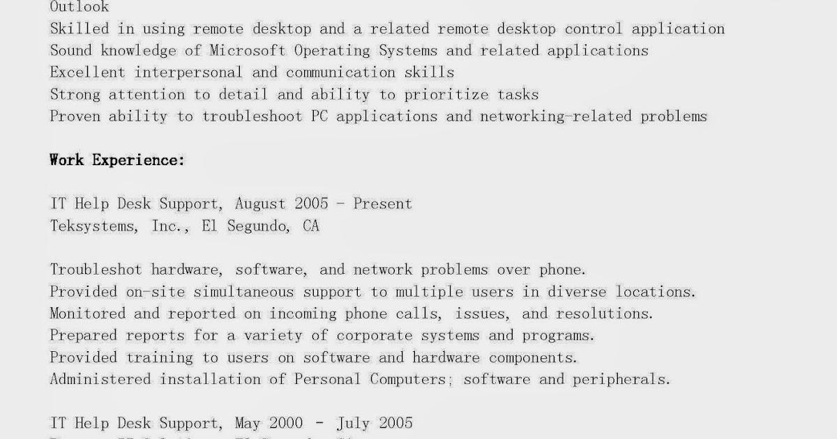 it help desk resume