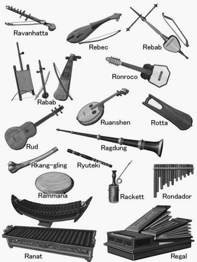 World musical instruments / monochrome illustration / Instrument encyclopedia