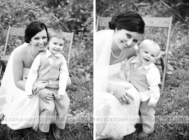 photos of bride with ring bearers