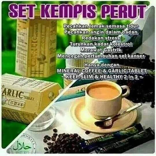 SET KEMPIS PERUT ( MINERAL COFFEE & GARLIC TABLET