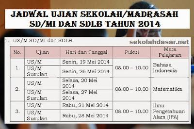 Ujian sekolah untuk SD/MI akan digelar tanggal 19 sampai 21 Mei 2014.