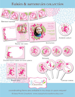 pink fairies and butterflies birthday party collection from Sassy Photo Creations