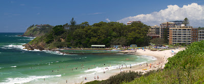 A photograph of Main Beach in Forster, Australia