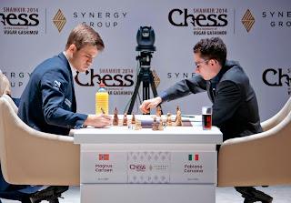 Echecs : Magnus Carlsen s'est incliné ronde 4 face à Caruana au Mémorial Vugar Gashimov - Photo site officiel