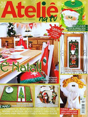 Conjunto para mesa de natal com 9 peças, patchwork, apliquê