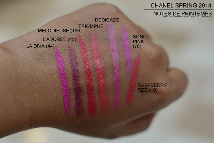 Chanel Lipsticks Color - La Diva 44 Ladoree 45 Melodiuese 136 Triomphe Dedicace Sonic Pink Liner Raspberry Red Aqua Crayon Pencil Spring 2014 Makeup Collection Swatches Photos