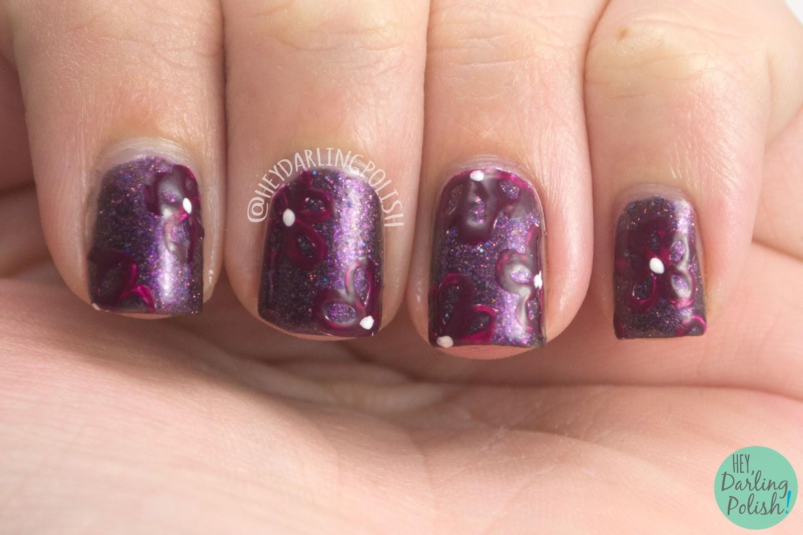 flowers, flor de muerto, nails, nail art, nail polish, hey darling polish, black dahlia lacquer, indie polish