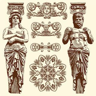 レトロな彫刻の柱 Pillar of sculpture retro イラスト素材