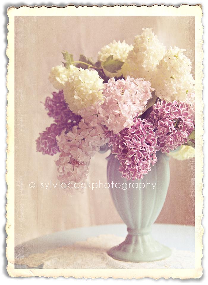 vintage aqua vase with lilacs