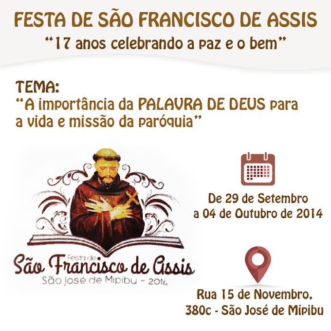 PROGRAMAÇÃO DA FESTA DE SÃO FRANCISCO DE ASSIS 2014