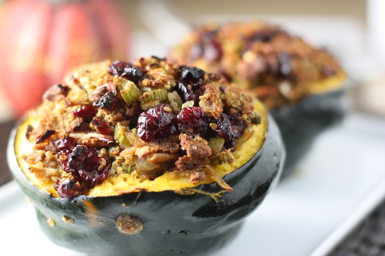 Cranberry Orange Quinoa Stuffing with Pecans in an Acorn Squash   Fake ...