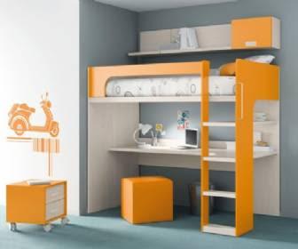 Cama alta tipo loft con escritorio