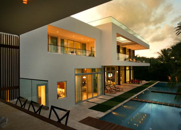 Modern Villa by Touzet Studio at sunset