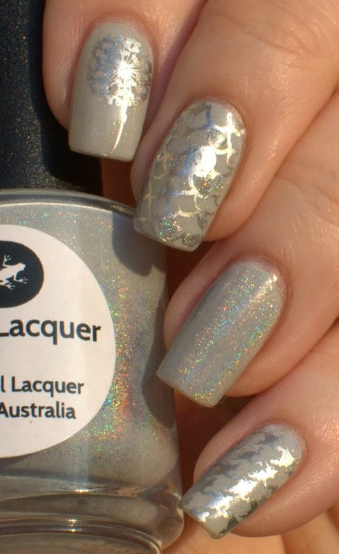 Lilypad Lacquer In the Milk Way with China Glaze Millennium stamping and Dance Legend Top Prismatic