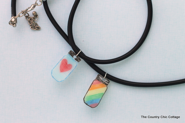 DIY Mason Jar Necklace -- make a shrink plastic charm in just a few minutes with these easy to follow instructions.