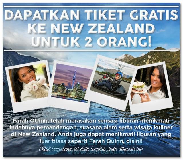 Kontes Berhadiah 2 Tiket Gratis ke NEW ZEALAND