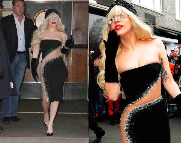 Really hot look of lady gaga while she going to meet her fans on street.