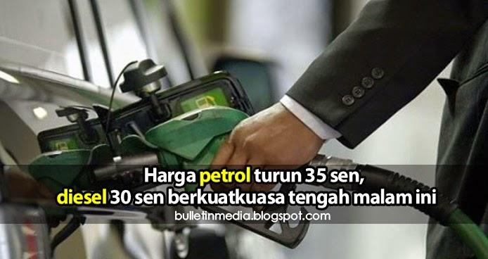 Harga petrol turun 35 sen, diesel 30 sen berkuatkuasa tengah malam ini