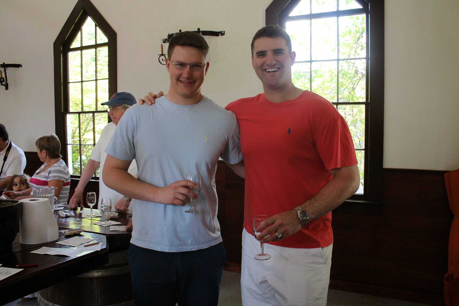 Brotherhood Winery tasting room - two soon to be West Point graduates