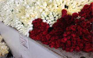 Red and White roses from LA flower mart.