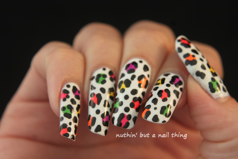 nuthin\' but a nail thing: Colourful leopard nail art